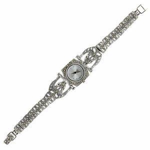 Markazit Taşlı Kaplan Figürlü Gümüş Saat, Saat 925 Ayar Gümüştür.