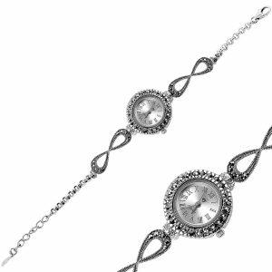 Markazit Taşlı Sonsuzluk Detaylı Gümüş Saat, Saat 925 Ayar Gümüştür.