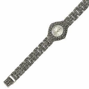 Markazit Taşlı Yuvarlak Gümüş Saat, Saat 925 Ayar Gümüştür.
