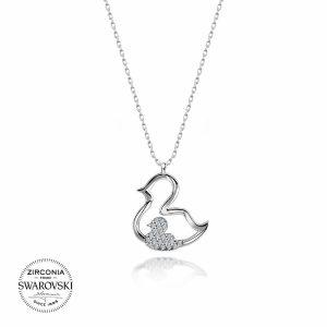 Swarovski Zirconia Taşlı Ördek Gümüş Kolye, Kolye Rodyum Kaplama 925 Ayar Gümüştür.