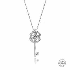Swarovski Zirconia Taşlı Anahtar Gümüş Kolye, Kolye Rodyum Kaplama 925 Ayar Gümüştür.