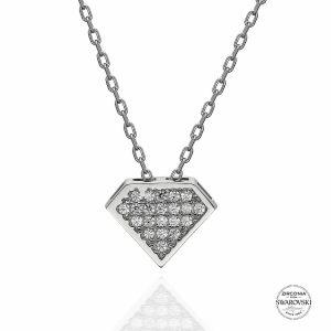 Swarovski Zirconia Taşlı Gümüş Kolye, Kolye Rodyum Kaplama 925 Ayar Gümüştür.