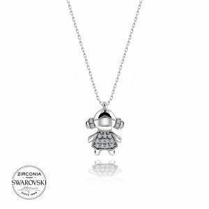 Swarovski Zirconia Taşlı Kız Çocuğu Gümüş Kolye, Kolye Rodyum Kaplama 925 Ayar Gümüştür.