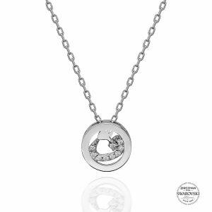 Swarovski Zirconia Taşlı Vav Harfi Gümüş Kolye, Kolye Rodyum Kaplama 925 Ayar Gümüştür.