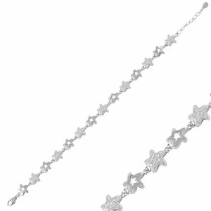 Yıldız Zirkon Taşlı Gümüş Bileklik, Bileklik Rodyum Kaplama 925 Ayar Gümüştür.