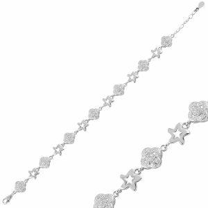 Yonca & Yıldız Zirkon Taşlı Gümüş Bileklik, Bileklik Rodyum Kaplama 925 Ayar Gümüştür.