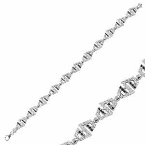 Zirkon Taşlı Gümüş Bileklik, Bileklik Rodyum Kaplama 925 Ayar Gümüştür.