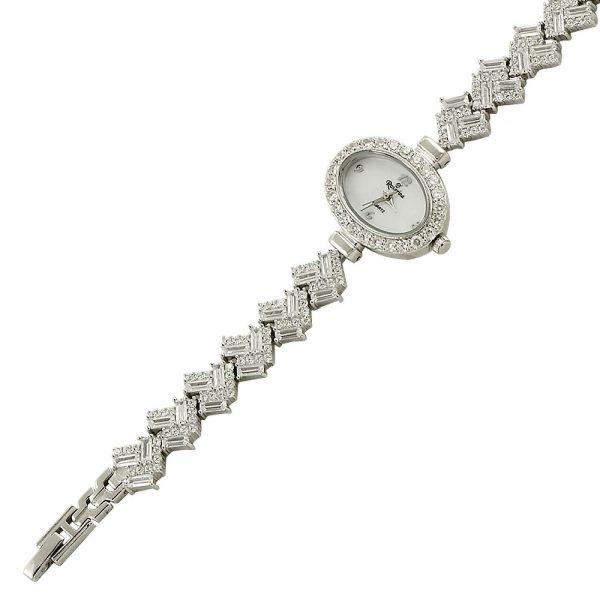 Zirkon Taşlı Oval Gümüş Saat, Saat Rodyum Kaplama 925 Ayar Gümüştür.